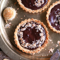 Chocolate Ganache Tarts with Coconut Macaroon Crust (GF + Paleo)