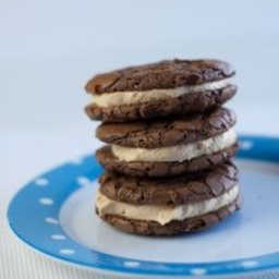 Chocolate Brownie Cookies Filled with Peanut Butter Buttercream