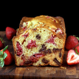 Chocolate Chunk Strawberry Malted Yogurt Loaf Cake