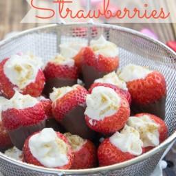 Chocolate Dipped, Cheesecake Stuffed Strawberries