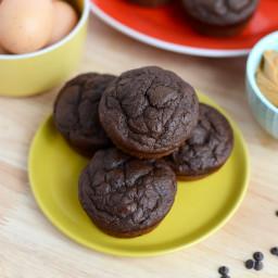 Chocolate Peanut Butter Oat Muffins