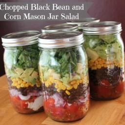 Chopped Black Bean and Corn Mason Jar Salad