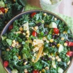 Chopped Mexican Kale Salad with Creamy Avocado Dressing