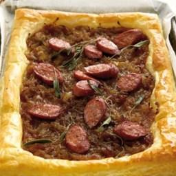 Chorizo and caramelised onion tart