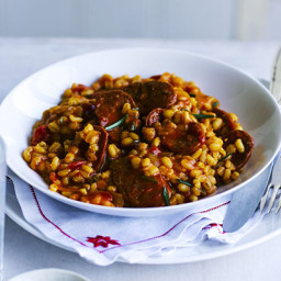 Chorizo and rosemary pearl barley risotto