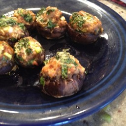 Stuffed Mushrooms - Chorizo, Cilantro, Topped with Grated Manchego