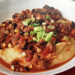 Chorizo & Vegetable Chili with Cheese Polenta