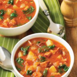 Chorizo, Kale and Teff Soup