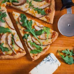 Ciabatta Pizza with Gorgonzola, Walnut Pesto, and Pears
