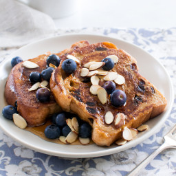 Cinnamon Raisin French Toast with Berries and Almonds