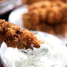 City Chicken with Greek Yogurt Dill Sauce