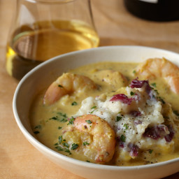 Corn and Shrimp Chowder with Mashed Potatoes