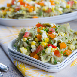 Corn, Feta, and Chive Pasta Salad with Avocado Dressing
