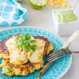 Corn and avocado fritters with avocado, yoghurt, coriander and lime sauce