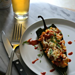 Corn and Sweet Potato Stuffed Poblano Peppers