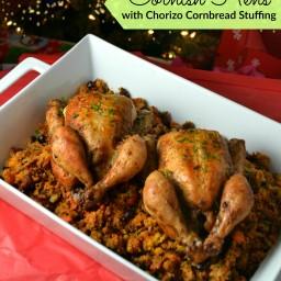 Cornish Hens With Chorizo Cornbread Stuffing