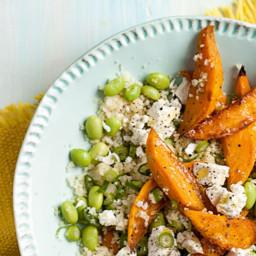 Couscous, Sweet Potato and Edamame Salad with Citrus Basil Vinaigrette