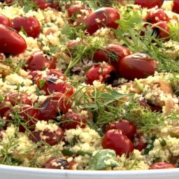 Couscous with grilled cherry tomatoes and fresh herbs