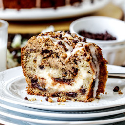 Cream Cheese Stuffed Chocolate Chip Banana Bread Coffee Cake