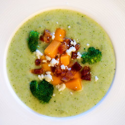 Cream of Broccoli Soup with Butternut Squash, Pancetta and Feta
