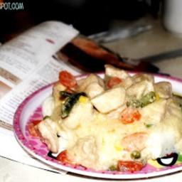 Creamed Turkey on Mashed Potatoes