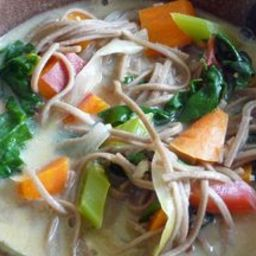 Creamy Miso Soup w/ Veggies, Greens and Soba Noodles