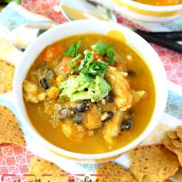 Creamy Pumpkin Chicken Tortilla Soup