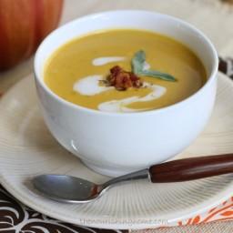 Creamy Pumpkin Soup with Crispy Bacon Bits