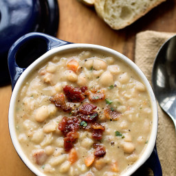 Creamy White Bean Stew With Smokey Bacon