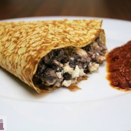 Crepas de frijol con queso fresco (Queso fresco and black bean crepes)