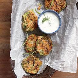 Crispy Broccoli-Carrot Fritters with Yogurt-Dill Sauce