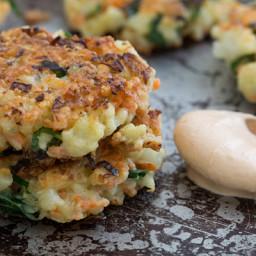 Crispy Cauliflower Carrot Fritters with Smoky Garlic Aioli