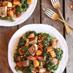 Crispy Kale Roasted Autumn Salad with Brie Grilled Cheese Crotouns