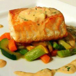 Crispy Salmon w/ a Tomato Basil Beurre Blanc