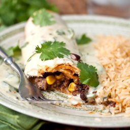 Crispy Beef Burritos with Poblano Queso