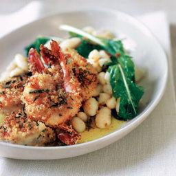 Crispy Breaded Shrimp with Garlicky Beans