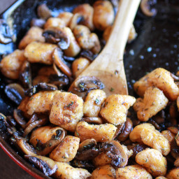 Crispy Brown Butter Sweet Potato Gnocchi with Balsamic Caramelized Mushroom