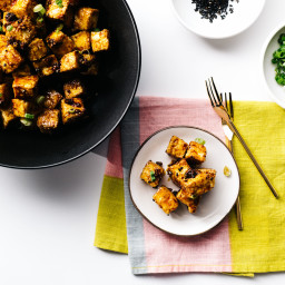 Crispy Oven Baked Honey Garlic Tofu Bites