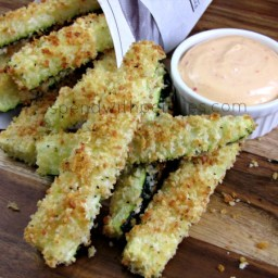 Crispy Parmesan Zucchini Fries with Chipotle Mayo
