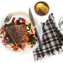 Crispy Za'atar Fish with Israeli Couscous, Swiss Chard, and Feta