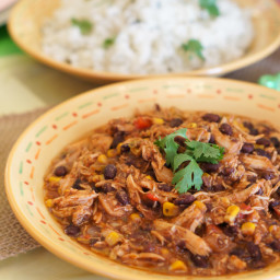 Crock-Pot Southwest Chicken Chili and Cilantro Lime Rice