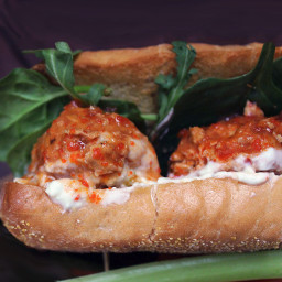 Crockpot Buffalo Chicken Meatball Subs