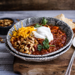Crockpot Chipotle Pulled Pork and Pumpkin Chili w/Roasted Pumpkin Seeds.