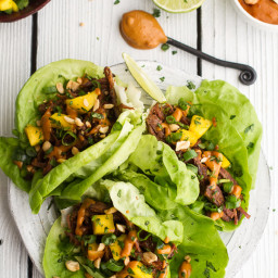 Crockpot Curried Thai Short Rib Lettuce Wraps with Peanut Sauce + Mango Sal