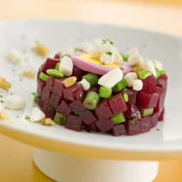 Crumbled Goat Cheese Red Beet and Green Bean Tartare