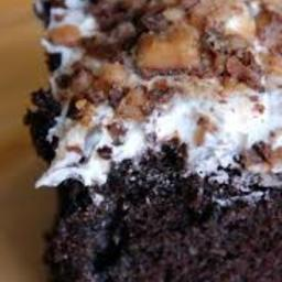 Crushed Candy Bar Chocolate Chip Chocolate Cake.