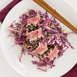 Crusted Tuna with Sesame-Tahini Red Cabbage