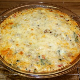 Crustless Mushroom, Spinach Salmon Quiche
