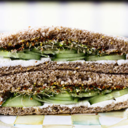 Cucumber, Cream Cheese, Sprout and Grainy Mustard Sandwiches