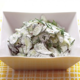 Cucumber Salad with Sour Cream and Dill Dressing